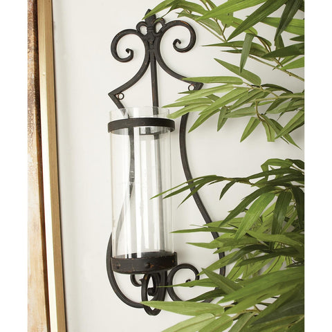 Zimlay Traditional Iron And Glass Scrolled Candle Sconce 68752