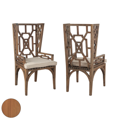 Traditional Teak Set Of 2 Wingback Chair In Euro Teak Oil 6917005P-ET