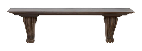GwG Outlet Wall Shelf in Weathered Dark Brown Finish with 2 Corbel Style 69226