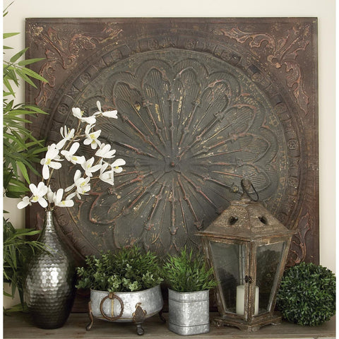 Zimlay Rustic Raised Medallion Design Square Iron Wall Decor 69246