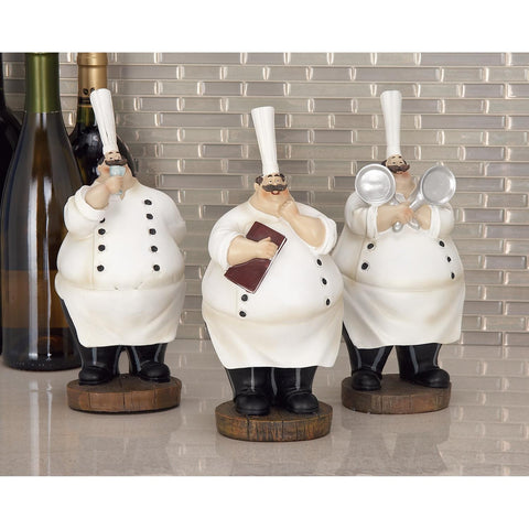 Zimlay Eclectic Polystone Set Of 3 Chef Statue 69748