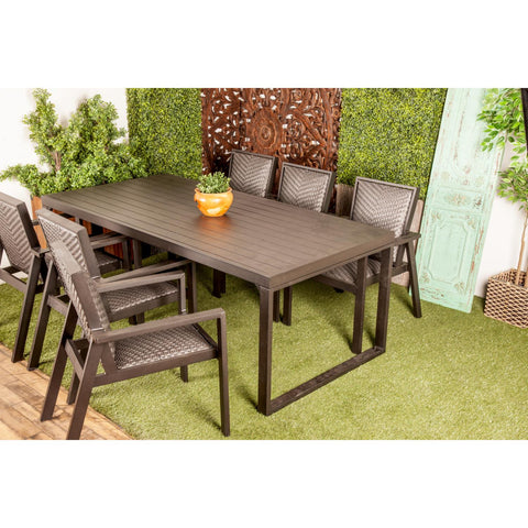 Zimlay Modern Rectangular Matte Black Aluminum And Wicker Dining Table 70337