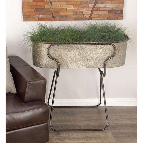 Zimlay Farmhouse Iron Oval Planter With Stand 70557