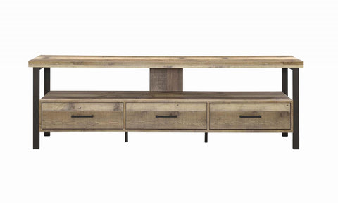 "Coaster Rustic Weathered Pine 71"" TV Console 721891"