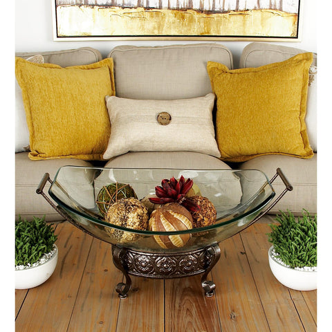 Zimlay Clear Glass Bowl Server With Iron Scroll And Flourished Stand 72259