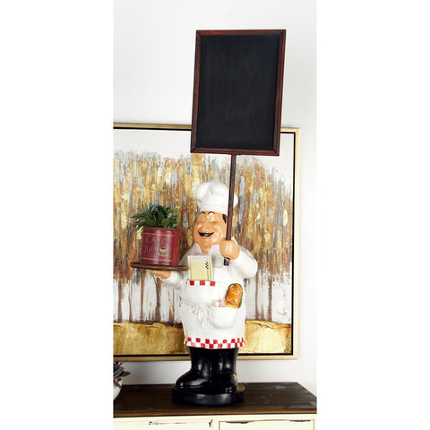 Zimlay Eclectic Textured Resin And Wood Chef Figurine And Blackboard 75975