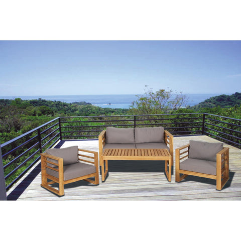 Zimlay Traditional Brown Teak Wood Set Of 4 Sofa And Table Set 77847