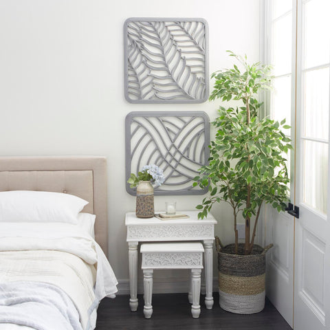 Zimlay Square Light Grey Carved Wood Set Of 2 Wall Decor 78295