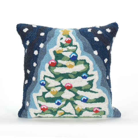 "Transocean Liora Manne Frontporch Xmas Tree Blue Accent Pillow 18"" x 18"""