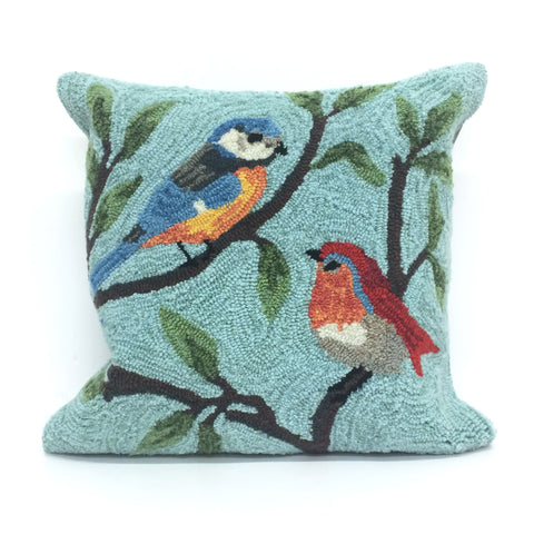 "Transocean Liora Manne Frontporch Birds On Branches Blue Accent Pillow 18""x18"""