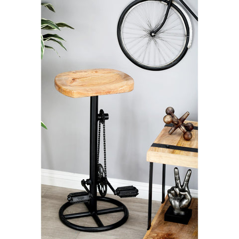 Zimlay Industrial Iron Pedal And Gears Bar Stool With Wooden Seat 80601