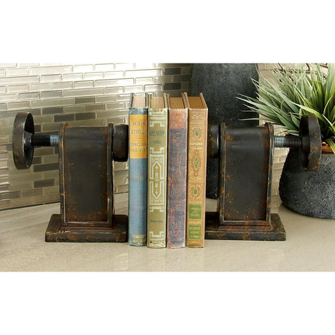 Zimlay Pair Of Two Industrial Gear Iron Bookends 80973