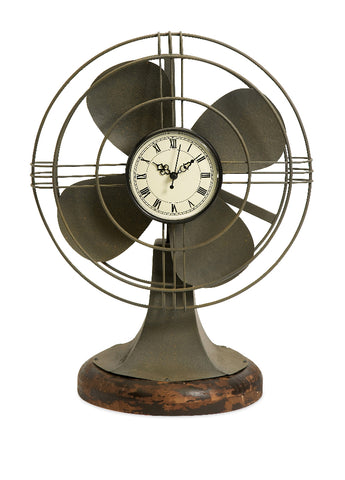 Thatcher Vintage Antique Style Fan Clock Iron Pinus Wood Decor Imax 84143