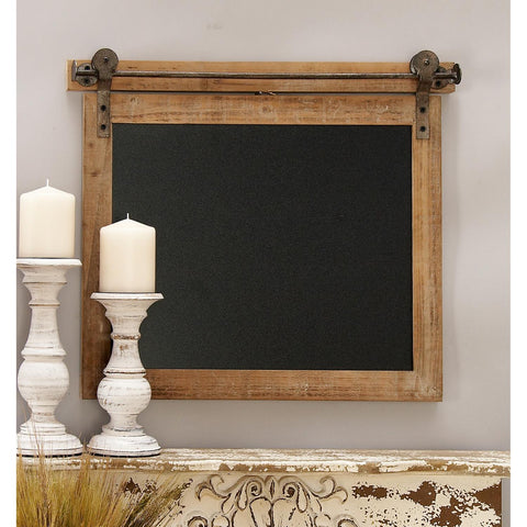 Zimlay Farmhouse Wood And Metal Wall Chalkboard 84251