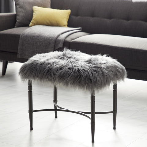 Zimlay Modern Gray Faux Fur Cushioned Stool With Iron Legs 84270