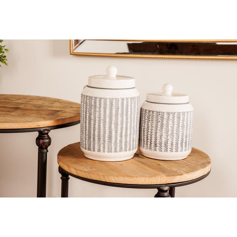 Zimlay Modern Ribbed Stoneware Set Of 2 Jars 85154