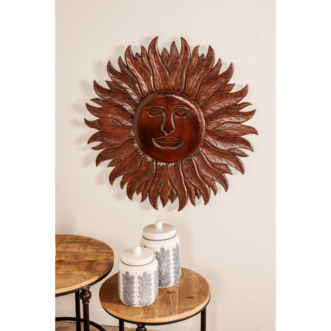Zimlay Eclectic Dark Brown Wooden Sun Face Wall Panel 86399