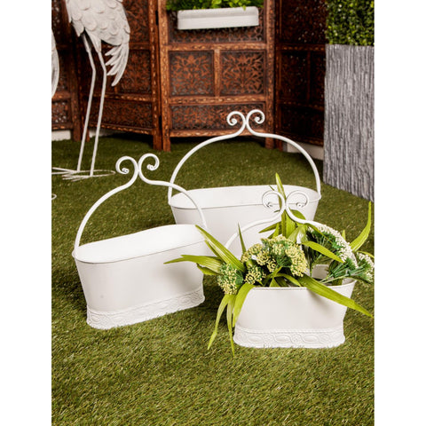 Zimlay Farmhouse Metal Set Of 3 Planters 88264