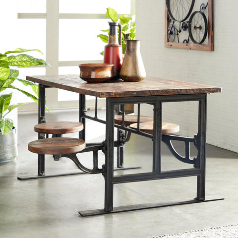 Zimlay Rustic Wood And Iron Dining Table 88580