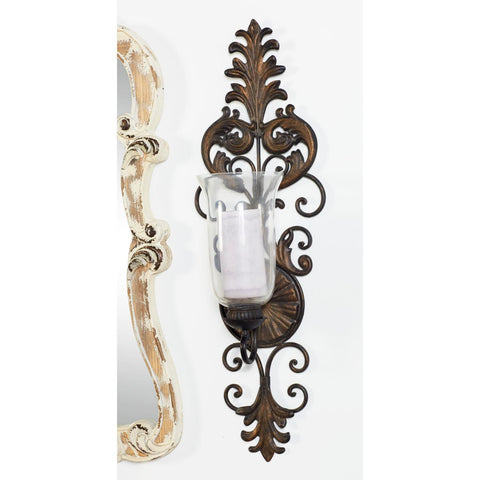 Zimlay Acanthus Leaf And Scrollwork Design Wall Mounted Candle Sconce 91512