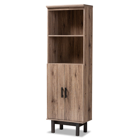 Baxton Studio Arend Two-Tone Oak and Ebony Wood 2-Door Bookcase