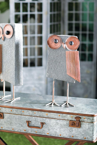 Zimlay Farmhouse Distressed Gray Polystone And Iron Owl Statue 94820