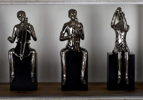 Zimlay Eclectic Set Of 4 Sitting Musicians Ceramic Statues 96746