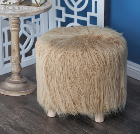 Zimlay Round Wooden Foot Stool With Faux Fur Cushion 98772