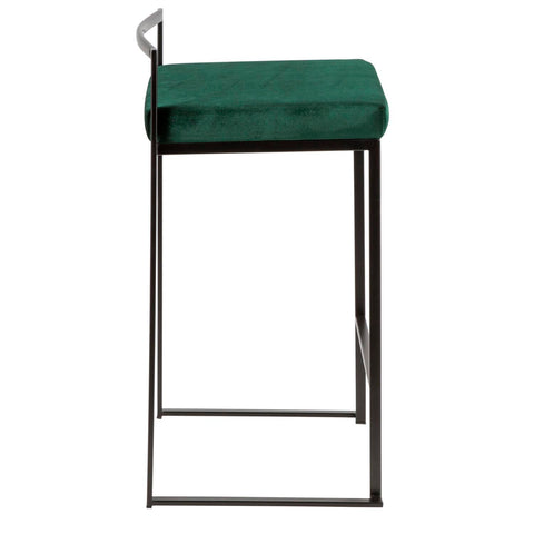 Lumisource Fuji Set Of 2 Bar Stool In Black And Green Finish B26-FUJI BKVGN2 - gwg-outlet