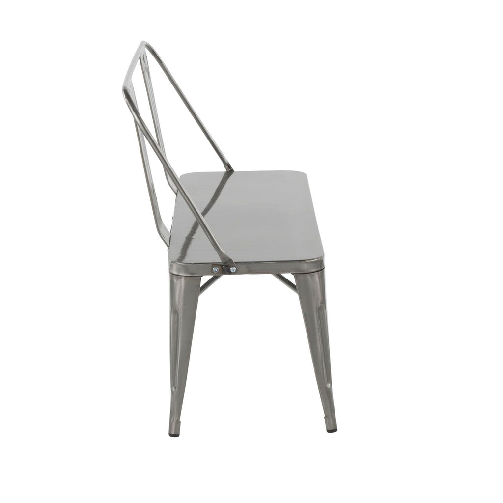 Lumisource Oregon Bench In Vintage White Finish BC-ORMTL VW