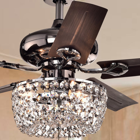 Warehouse Of Tiffany 3-Light Crystal Chandelier 5-Blade Ceiling Fan CFL-8110