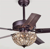 Warehouse of Tiffany Catalina Crystal Ceiling Fan in Bronze CFL-8111REMO/AB