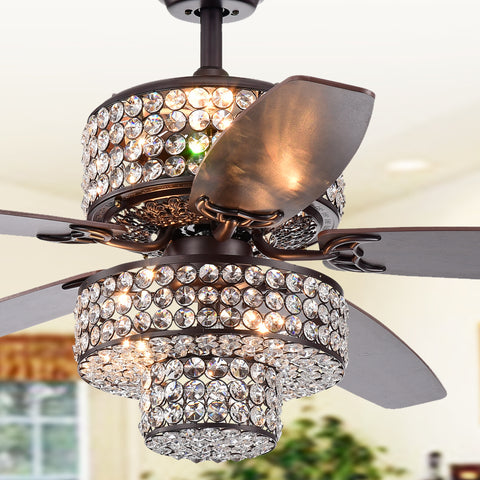 Warehouse Of Tiffany Tierna 5-Blade Lighted Ceiling Fans CFL-8340REMO
