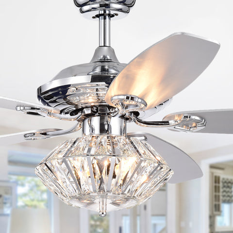 Warehouse Of Tiffany Lighted Ceiling Fan With Crystal Shade CFL-8366REMO/CH
