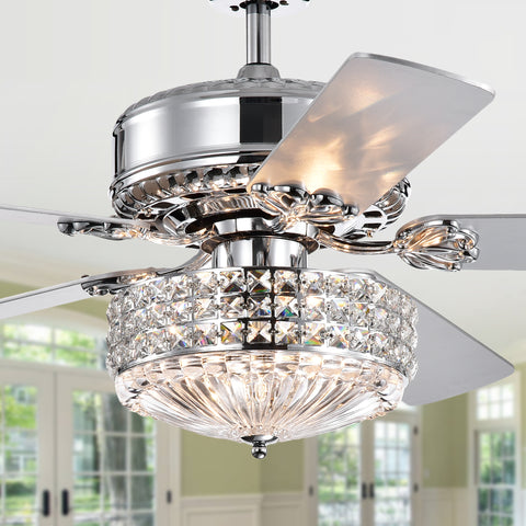 Warehouse Of Tiffany Gremane Chrome 52-Inch Lighted Ceiling Fan CFL-8371REMO/CH
