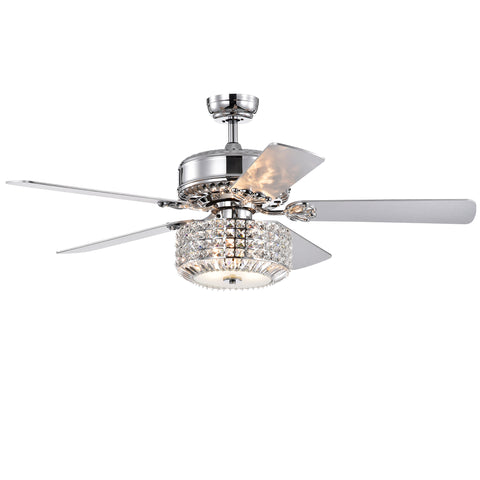 Warehouse Of Tiffany 52-Inch Lighted Ceiling Fan CFL-8372REMO/CH