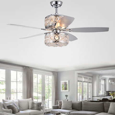Warehouse Of Tiffany 6-Light Dual Lamp Lighted Ceiling Fan CFL-8376REMO/CH