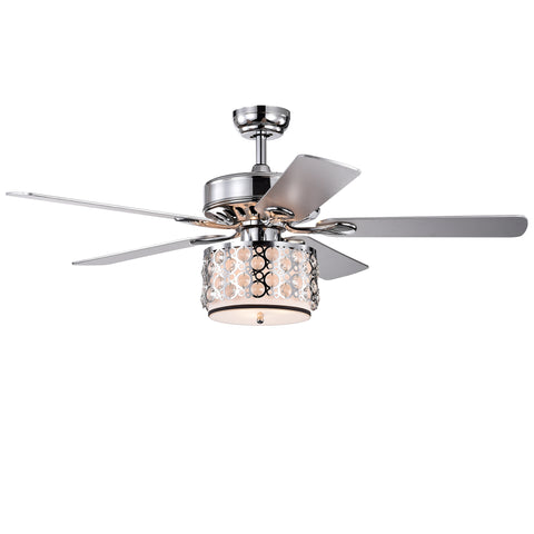 Warehouse Of Tiffany 52-Inch 5-Blade Lighted Ceiling Fan CFL-8413REMO/CH