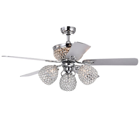 Warehouse Of Tiffany 52-Inch 5-Blade Lighted Ceiling Fan CFL-8415REMO/CH