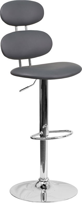 Flash Furniture Gray Vinyl Adjustable Height Barstool CH-112280-GY-GG