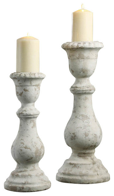 Crestview Newport Set Of 2 Textured Candleholders In Earthenware CVCHE384