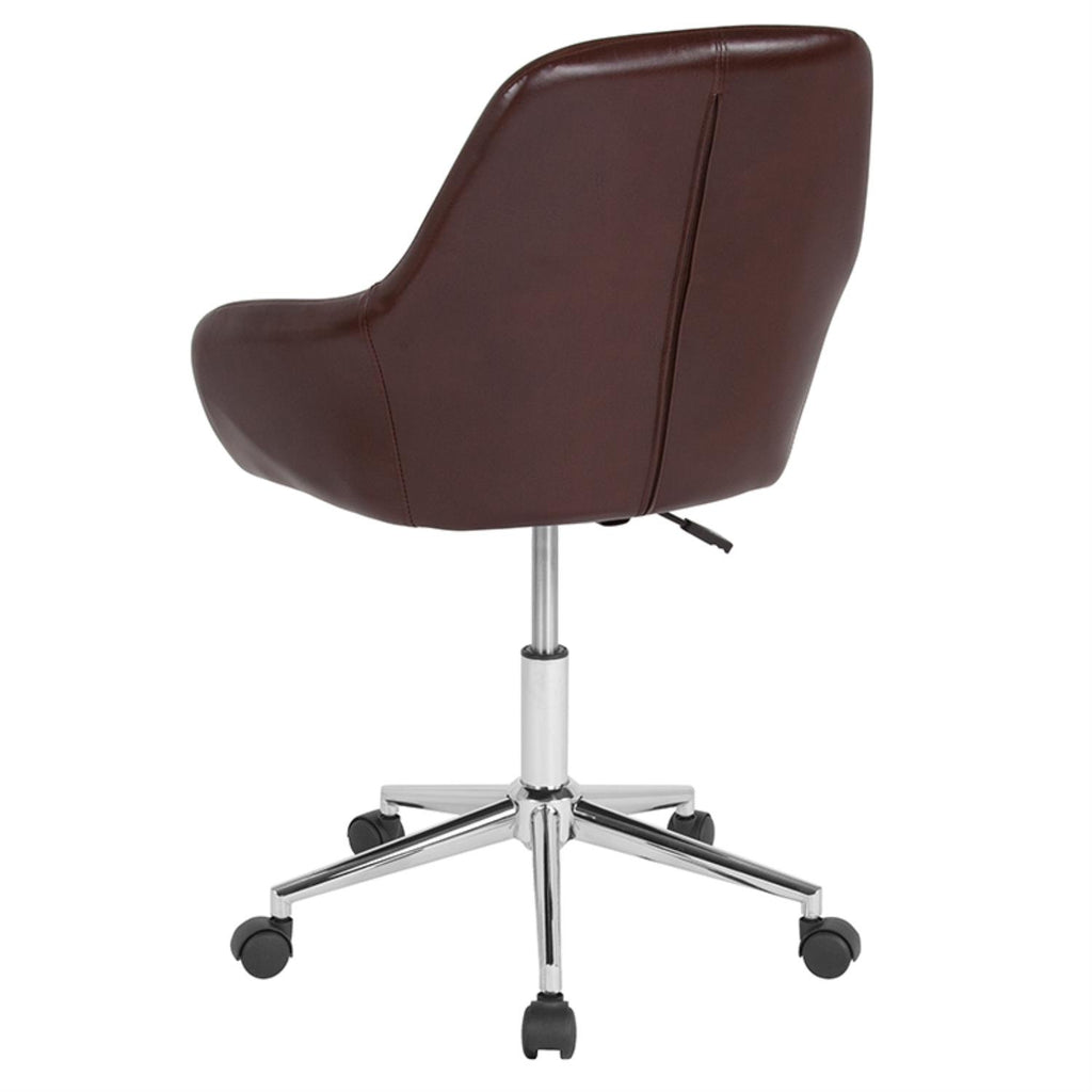 Flash Furniture Metal And Plastic Task Chair In Brown Leather DS-8012LB-BRN-GG - gwg-outlet