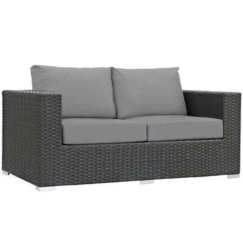 Modway Sojourn Aluminum Loveseat In Canvas Gray Finish EEI-1851-CHC-GRY