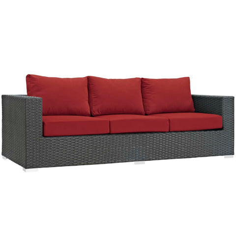 Modway Sojourn Aluminum Sofa In Canvas Red Finish EEI-1860-CHC-RED