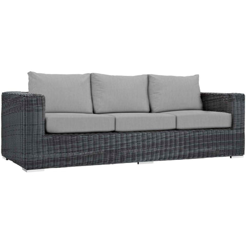 Modway Summon Aluminum Sofa In Canvas Gray Finish EEI-1874-GRY-GRY