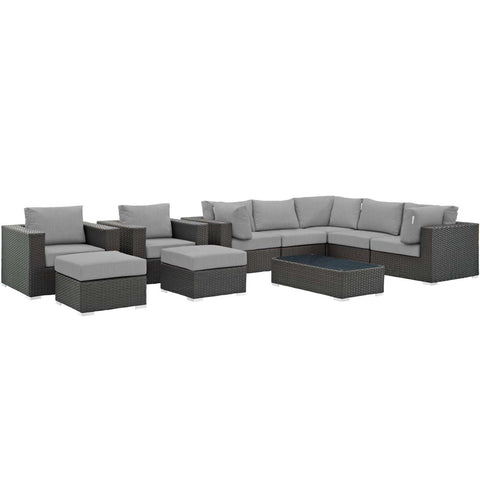 Modway 10 Piece Outdoor Patio Sunbrella Sectional Set EEI-1888-CHC-GRY-SET