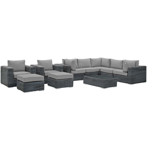 Modway 10 Piece Outdoor Patio Sunbrella Sectional Set EEI-1902-GRY-GRY-SET