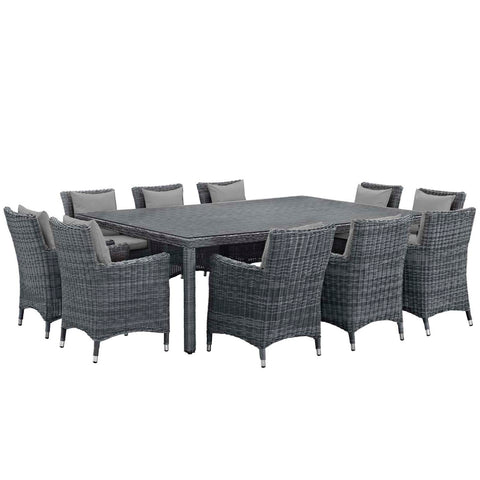 Modway 11 Piece Outdoor Patio Sunbrella Dining Set EEI-2333-GRY-GRY-SET