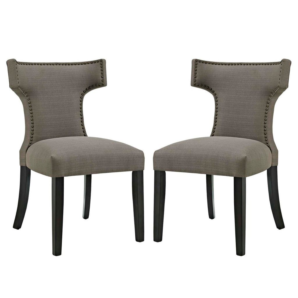 Modway Curve Dining Side Chair Fabric Set of 2 In Granite EEI-2741-GRA-SET