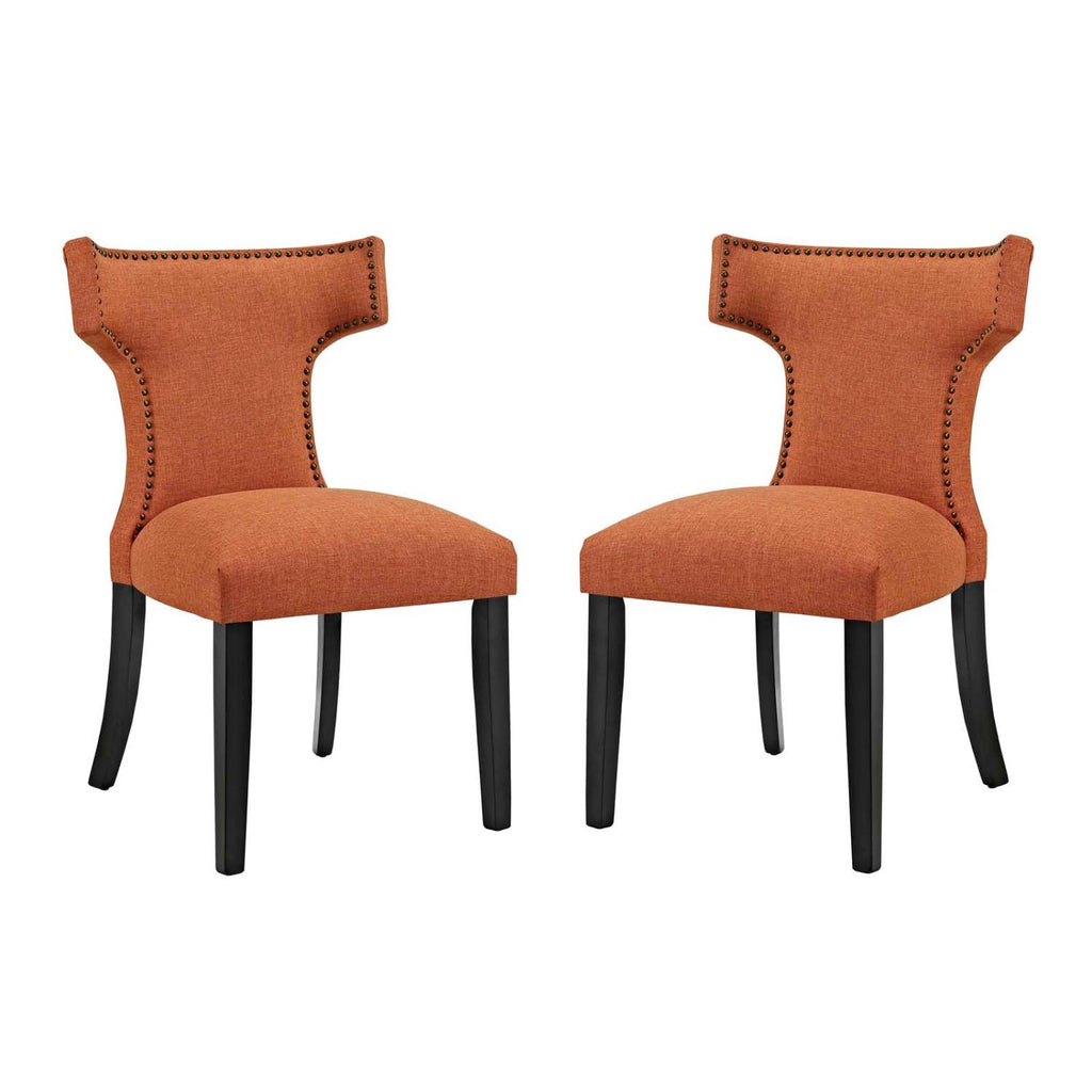 Modway Curve Dining Side Chair Fabric Set Of 2 With Orange EEI-2741-ORA-SET
